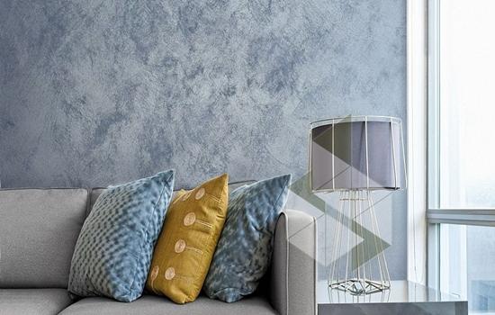 Декоративная штукатурка под цвет бетона в дизайне интерьера