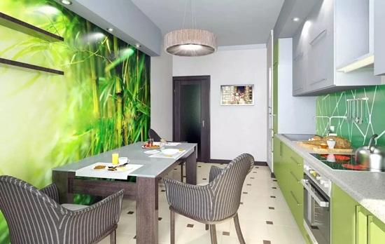 Зеленые обои на кухне – варианты оформления комнаты